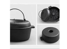 Iron Casting Multi-function Roast Sweet Potato Vegetable Pan Bake Baking 28cm #
