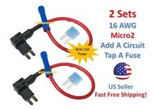 2 Set MICRO2 Add-A-Circuit Fuse Taps Holder 16 AWG Gauge Car Auto Truck +15 Amp