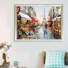 DIY Paris Street Paint Pictures On Linen By Number Digital Oil Painting 40*50cm