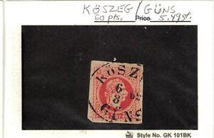 Austria 1867-71 rose 5 kr. used on piece, Hungary. town cancel of KOSZEG/GUNS