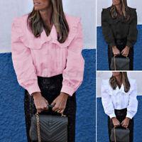 Size Womens Girl Lolita Shirt Tops Peter Pan Collar Long Sleeve OL Button Blouse