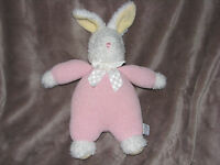 Carters Prestige White BUNNY Rabbit pink chenille outfit Rattle Plush Baby Toy