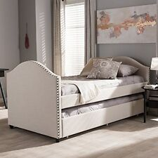 Baxton Studio Alessia Beige Fabric Upholstered Daybed with Guest Trundle Bed NEW