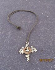 Pewter Pendant on Black Cord 1711.Sacred Flying Dragon Talisman Necklace -