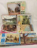 Lot of 7 Vintage Jigsaw Puzzles Milton Bradley, Built-Rite, Fairco, Monroe
