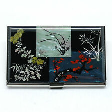 Asian drawings The Four Gracious plants Mother of pearl business card case