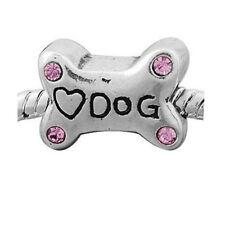 """Love Dog"" Bone with Pink Stone Charm for European Snake Chain Charm Bracelets"