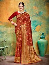 Bollywood Saree & Blouse Indian Sari  Maroon Woven Banarasi Art Silk -4306