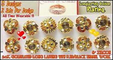 22K 23K 24K Goldplated Wholesale Lots Indian Stud Earrings in Red Black Meena AD