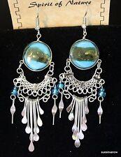 Handmade Art Glass Earrings Native Design  Cool Cute Playful 3 inch Drop G2