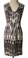 CUE DRESS Fitted Black Off White Digital Abstract Print Viscose Sleeveless 12 14