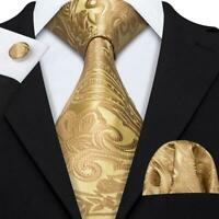 USA Yellow Gold Paisley Tie Set Mens Silk Necktie Pocket Square Cufflinks Party