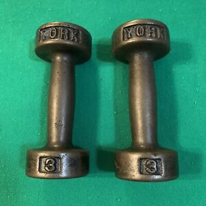 Vintage York Cast Iron Dumbells Weights 2 - 3 lb Pound, 6 lb Total Exercise
