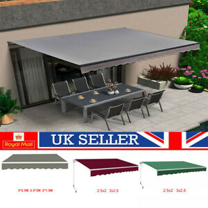 Manual Awning Canopy  Patio Garden Sun Shade Retractable Shelter Grey/Wine/Green