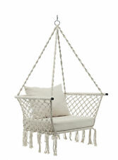 Hanging Rope Hammock Chair Swing Outdoor Porch Patio Yard Seat w/ Cushion Seat