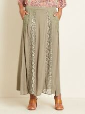 Crossroads Army Green Bohemian Lace Panel Maxi Skirt With Small Pockets Size 18
