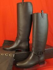 7516eb71b GUCCI COCOA LEATHER INTERLOCKING GG TALL HARNESS RIDING BOOTS 37.5 7.5  #338541