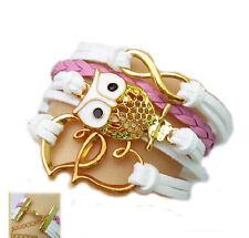 Owl Hearts Design Bracelet Bangle Friendship Woven Pink & White & Gold Jewellery