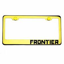 Gold Chrome License Plate Frame FRONTIER Laser Engraved Metal Screw Cap