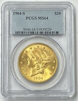 1904-S $20 Liberty Gold Double Eagle Pre-33 PCGS MS64 Bright Yellow Gold Flash!