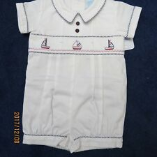 Will'beth boys 3mo. sailor shortall, white w/navy red trim. new w/tags