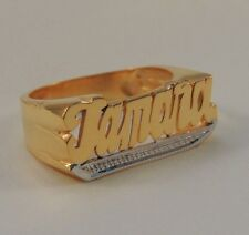 New Name Ring Personalized Sterling Silver Any Name Yellow *Tail Bit Work* USA