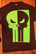 THE PUNISHER MARVEL COMICS FRANK CASTLE GREEN DAY GLOW SKULL T-SHIRT MEN'S M