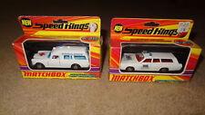 Pair Matchbox Speed King cars NIB. Mercury police car & Mercedes Benz ambulance