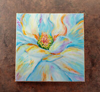 Original Abstract Flowers, Contemporary Acrylic Painting on Canvas, Floral Art