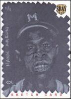 2014 SBAY Hank Aaron 1/1 Original Art Sketch by William Freeman ACEO