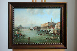 "Framed oil on board famous paintings Venice landscape old building12""x16"""