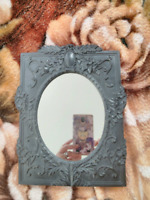 """Mirror Mirror on the wall"" antique Victorian style framed black carved mirror"