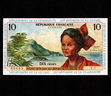 French Antilles 10 Francs 1964 P-8b Unc very small stain * French Administration