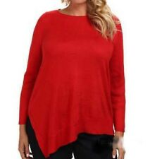 Vince Camuto Holiday Glam Cherry Red Asymmetrical Sweater Top Women Plus 1X $99