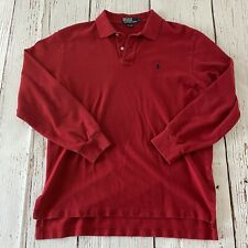 Polo Ralph Lauren Long Sleeve Button Front Rugby Polo Shirt Men's L Solid Red
