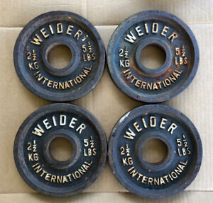 Vintage Weider International Olympic Weight Plates lot of (4) 2.5 KG 5.5 lb