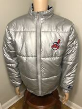 90s VTG CLEVELAND INDIANS PUFFY STARTER JACKET MENS XL SILVER PUFFER RETRO WAHOO