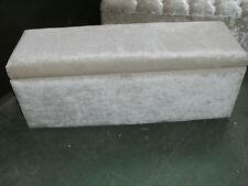 120 cm LONG HONEY BEIGE VELVET/CHENILLE  UPHOLSTERED BENCH STORAGE OTTOMAN
