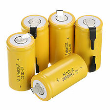 5pcs Jaune Couleur BATTERIE RECHARGEABLE SC Sub C  1.2V 2200mAh Ni-Cd piles set