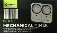 Delta twin pack mechanical time clocks 24 hour dial upto 48 switches per day