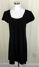 Forever M Black Stretch Knit A Line Spring Summer Shift Dress Beach Pool Cover