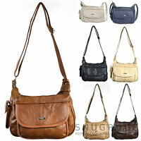 LADIES LEATHER SHOULDER BAG HANDBAG WITH MOBILE POUCH BROWN/FAWN/TAN/BLACK/BEIGE