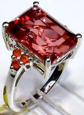 Papaya Quartz (Oct 10.20 Ct), Jalisco Fire Opal  Ring Size 7 Platinum Ov Silver