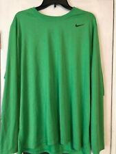 Nike Long Sleeve Shirt Dri-Fit Green Large Training Running  377780-361