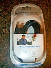 Belkin 6 Foot 3 Prong Grounded Wall Outlet Computer AC Power Cable NIP