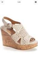 SO womens woven wedge platform sandals womens white, natural & black color New