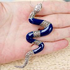 #P405 Pendentif Serpent Argent Massif 925 Lapis Lazuli & Marcassites