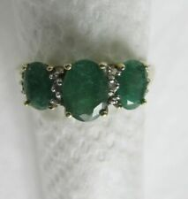 10KT YELLOW GOLD THREE (3) EMERALDS COCKTAIL RING SIZE 7