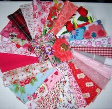 craft patchwork fabric material remnants shades of red