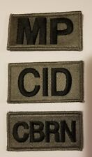 US ARMY ACU PATCH LOT OF THREE PATCHES - HOOK AND LOOP  CID MP CBRN